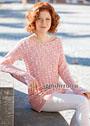 Удлиненный женственный пуловер из шерстяной розовой пряжи, с узорами из бантов. Крючок