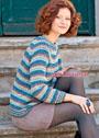 Полосатый пуловер-реглан из смесовой пряжи с пайетками. Крючок