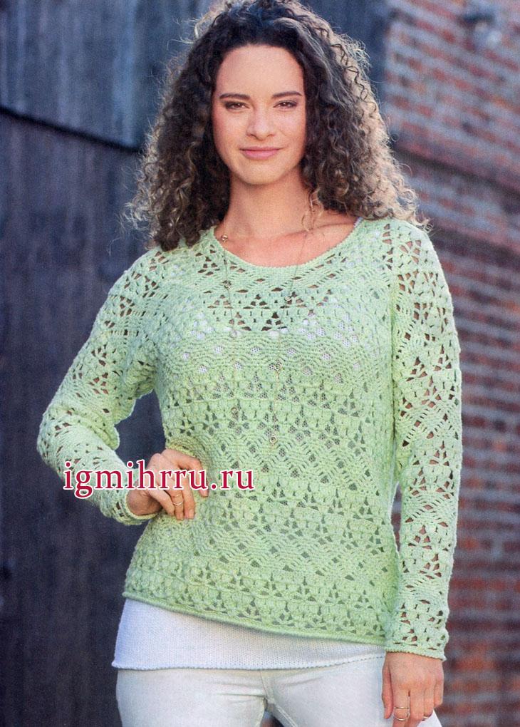 Ажурный пуловер нежного мятного цвета. Вязание крючком