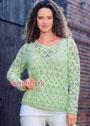 Ажурный пуловер нежного мятного цвета. Крючок