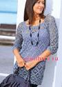 Цветочный ажур. Удлиненный сиреневый пуловер с прямоугольной горловиной. Крючок