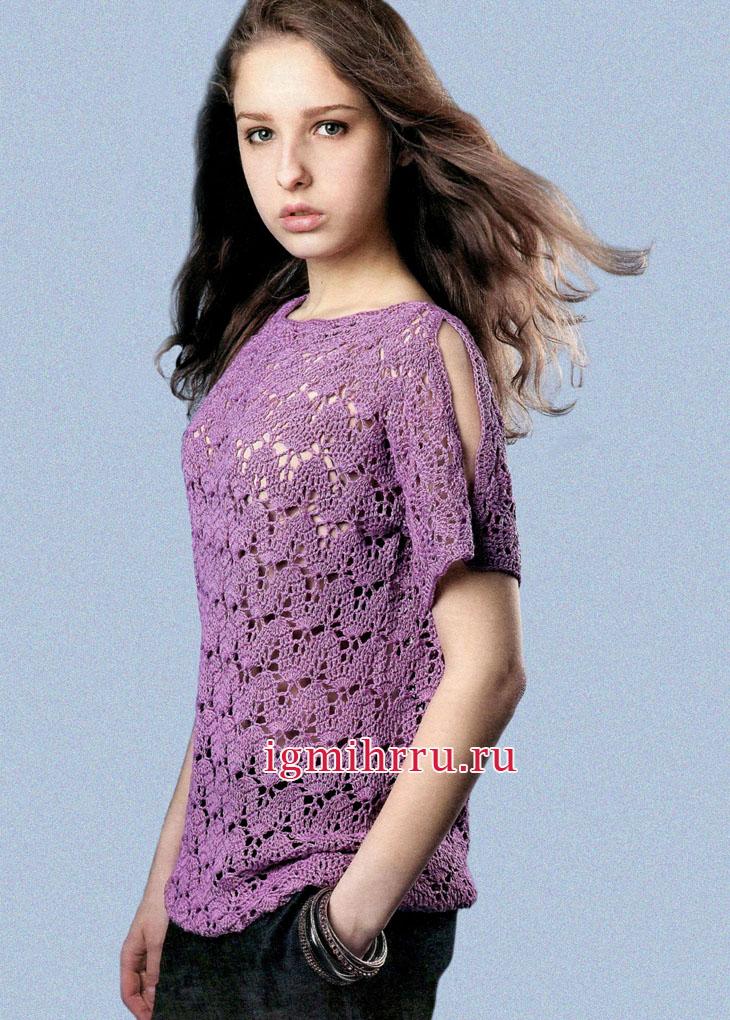Для молодой девушки. Летний сиреневый пуловер с полупрозрачным узором из листьев. Вязание крючком