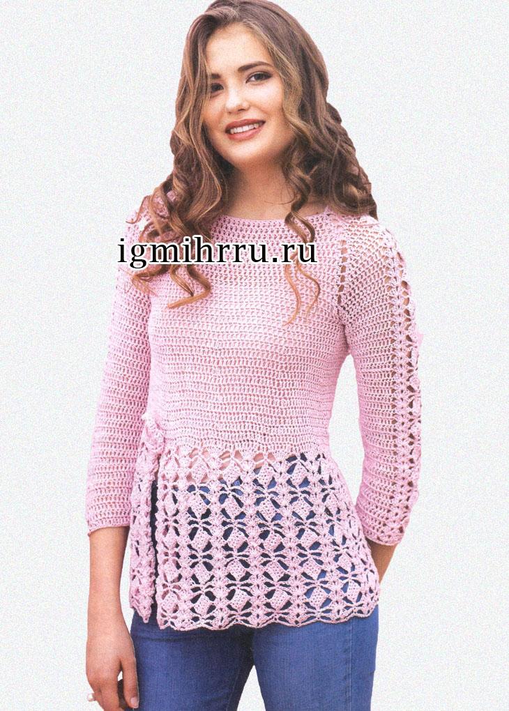 Романс в розовых тонах. Пуловер с выразительным узором из ромбов на баске и рукавах. Вязание крючком