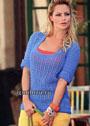 Летний голубой пуловер из хлопковой пряжи. Крючок