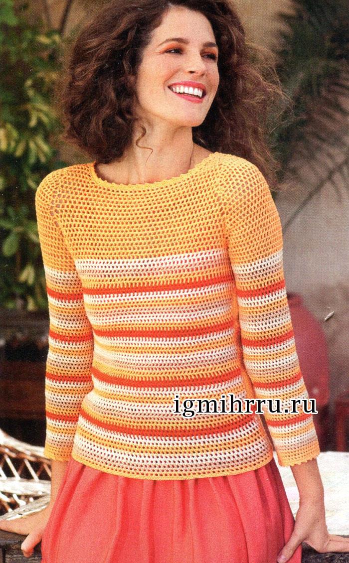 Полосатый пуловер в ярких оттенках солнечного лета. Вязание крючком
