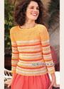Полосатый пуловер в ярких оттенках солнечного лета. Крючок
