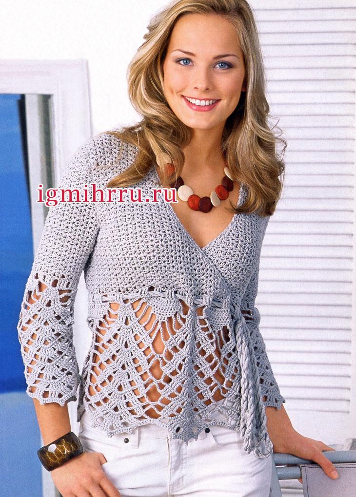 Серебристо-серый пуловер с кружевной каймой. Вязание крючком
