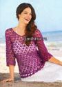 Шелковый лиловый пуловер с ажурным узором. Крючок