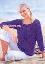 Фиолетовый пуловер с кружевными розетками. Крючок