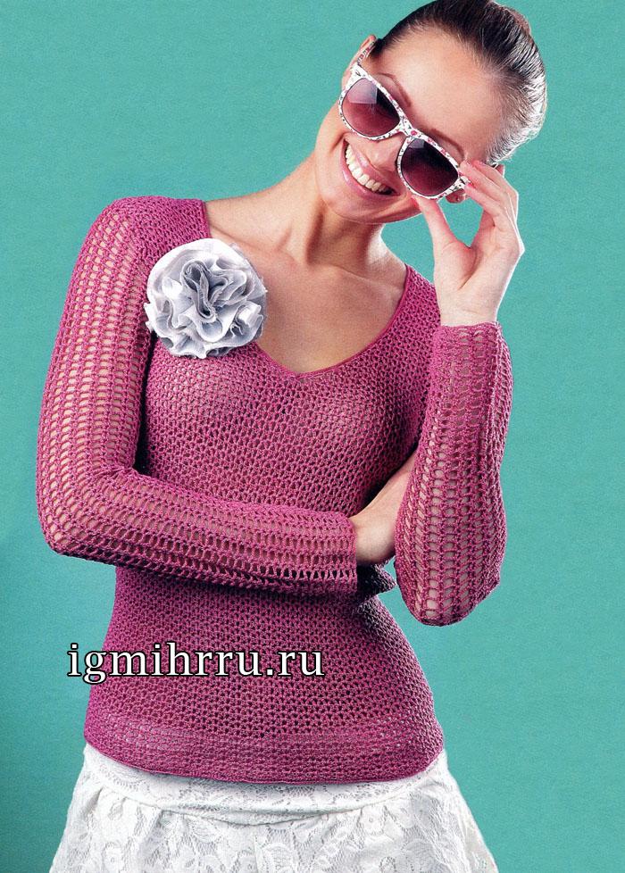 Малиновый ажурный пуловер из хлопковой пряжи. Вязание крючком