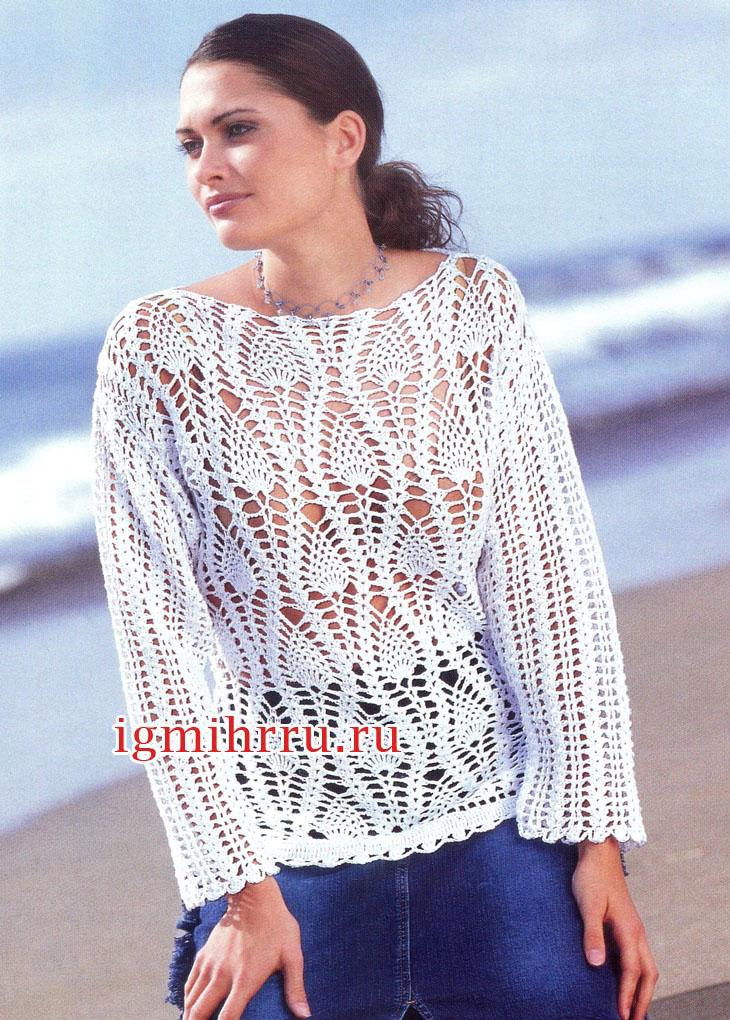 Белый летний пуловер с узором ананасы. Вязание крючком