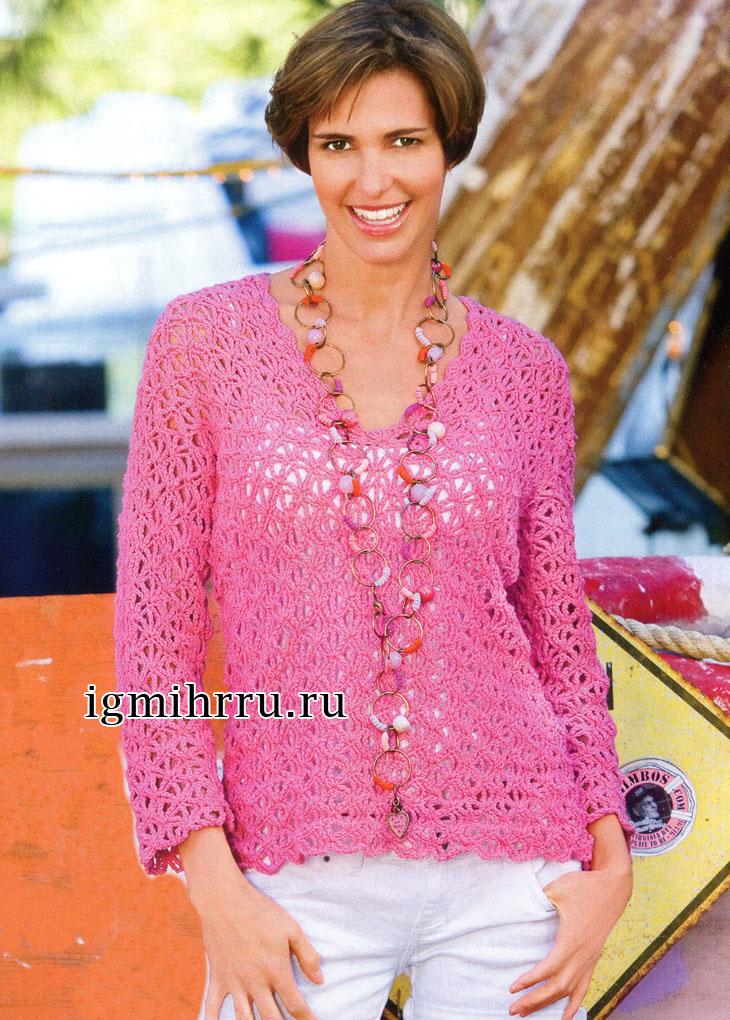 Летний ажурный пуловер розового цвета. Вязание крючком