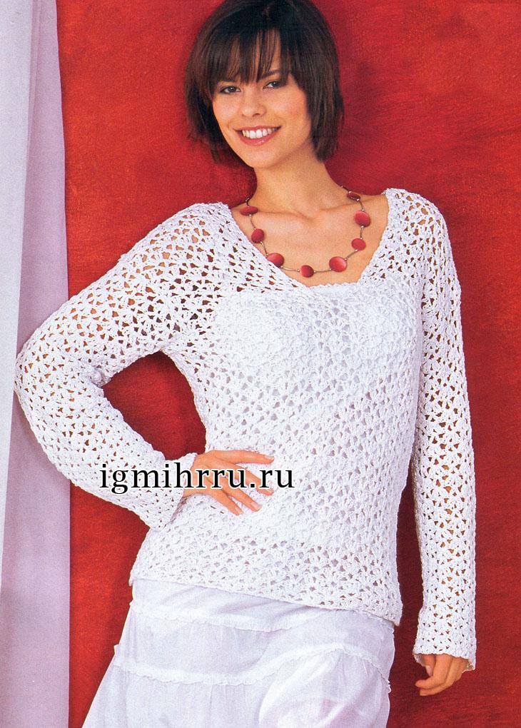 Ажурный летний пуловер белого цвета. Вязание крючком