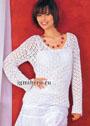 Ажурный летний пуловер белого цвета. Крючок