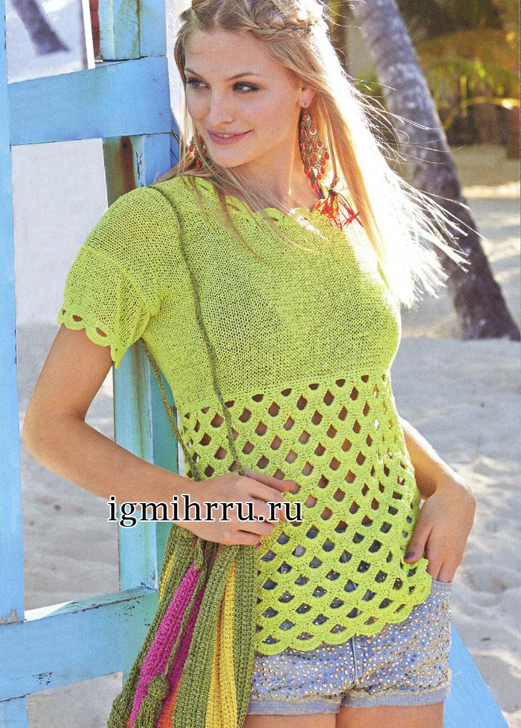 Желто-зеленый летний пуловер с арочным узором. Вязание крючком и спицами