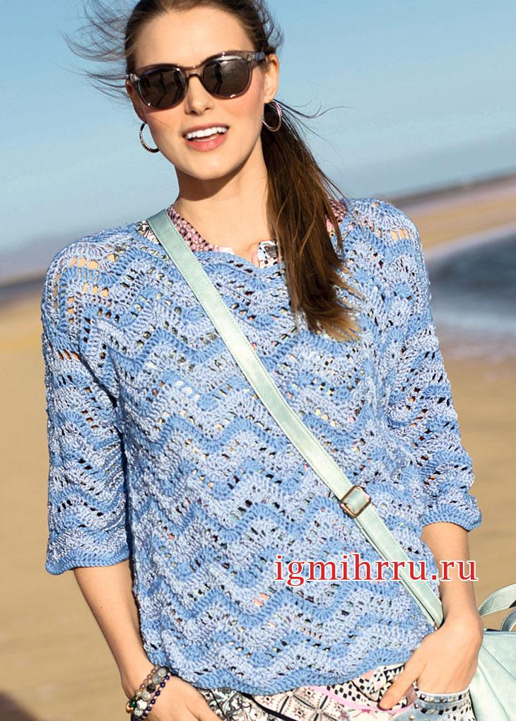 Пуловер с зубчатым узором из трех видов пряжи. Вязание крючком