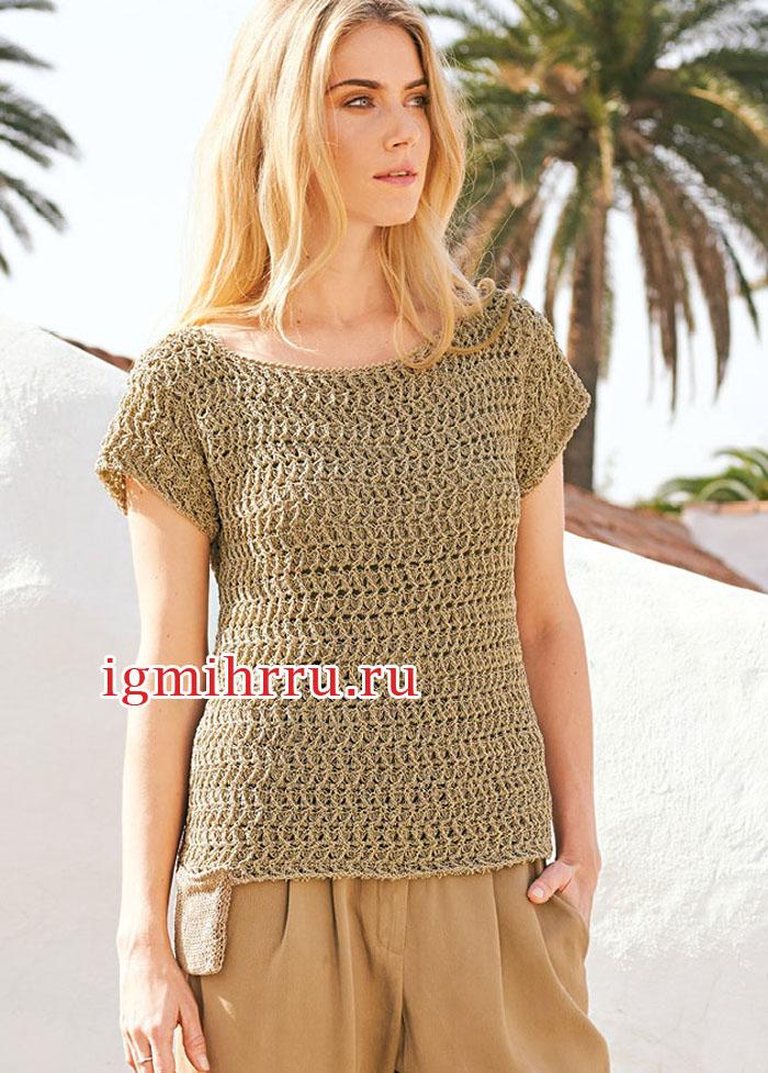 Лаконичный серо-бежевый пуловер с карманом. Вязание крючком