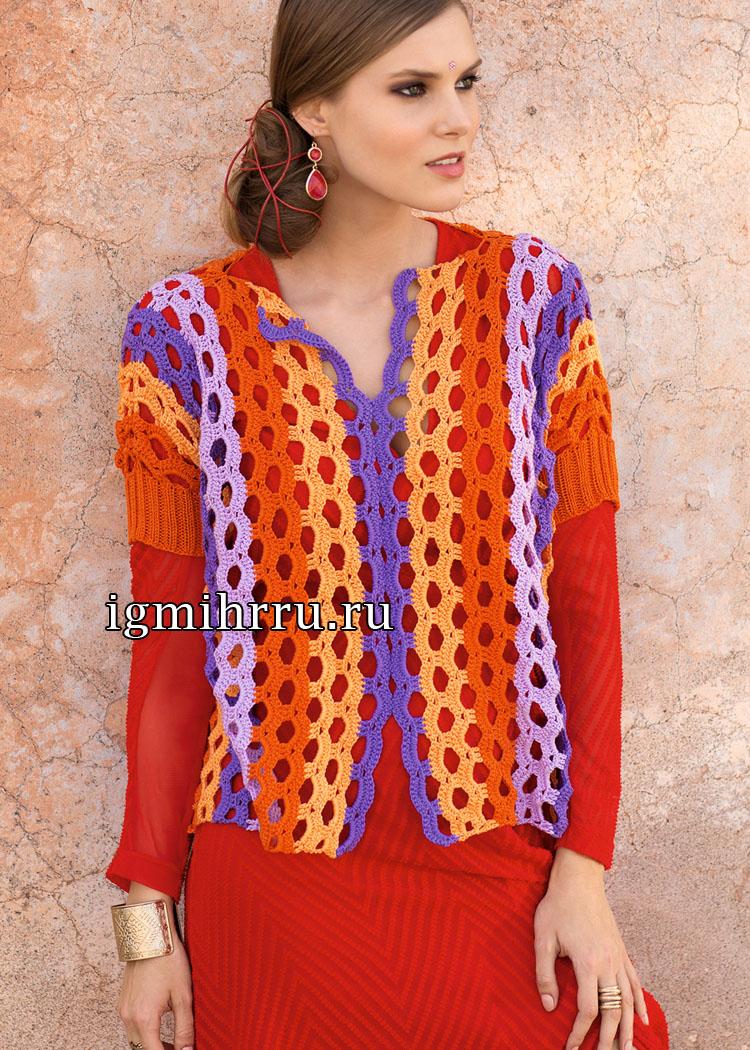 Ажурный полосатый пуловер с короткими рукавами. Вязание крючком