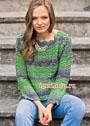 Зелено-оливковый пуловер с узором из рельефных столбиков. Крючок