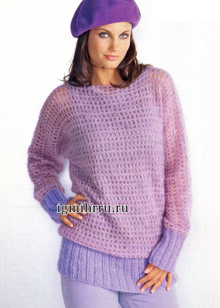 Пушистый сиреневый пуловер с рукавами летучая мышь. Вязание крючком
