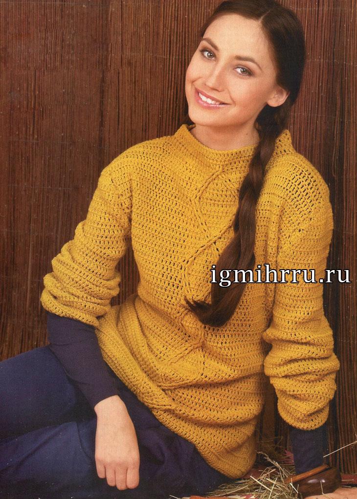 Золотисто-желтый теплый пуловер с полосой из ромбов. Вязание крючком
