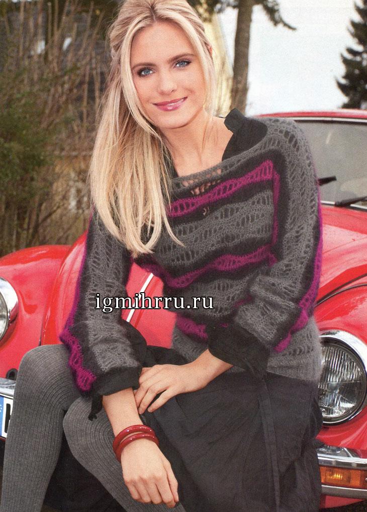 Сочетание тепла и легкости. Пуловер с волнистым узором. Вязание крючком