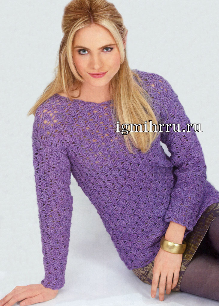 Теплый сиреневый пуловер с узорными переплетениями. Вязание крючком