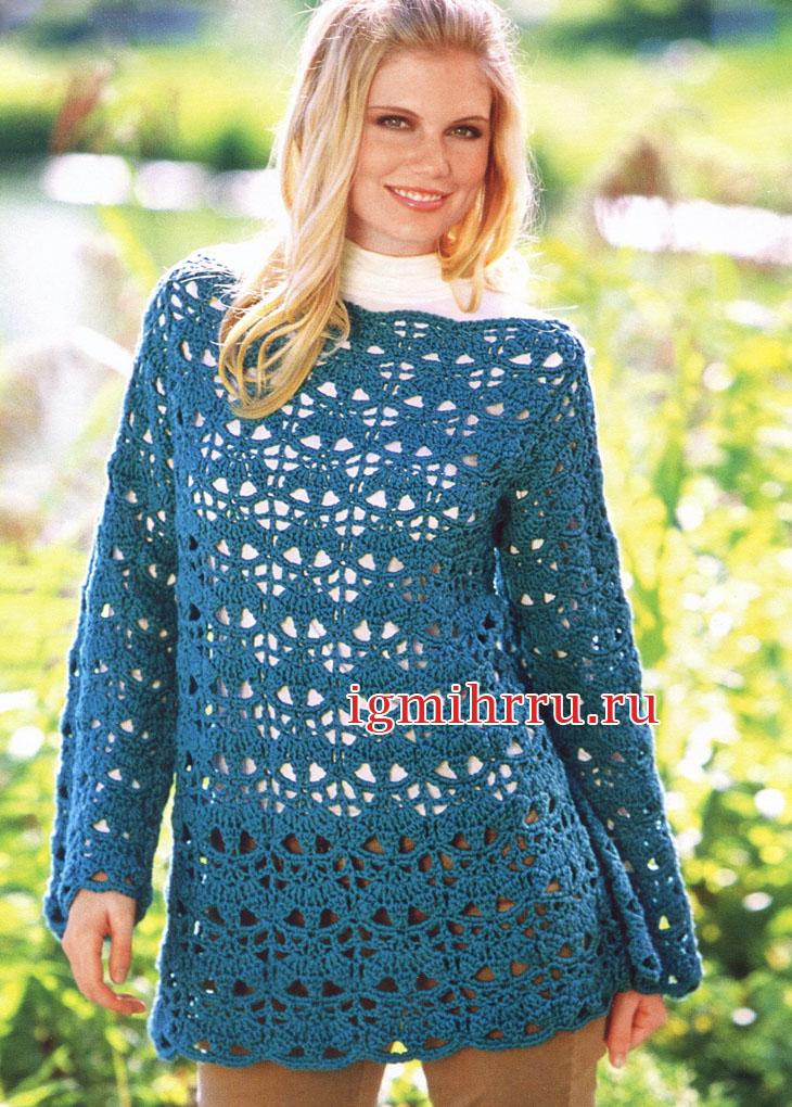 Длинный кружевной пуловер темно-бирюзового цвета. Вязание крючком