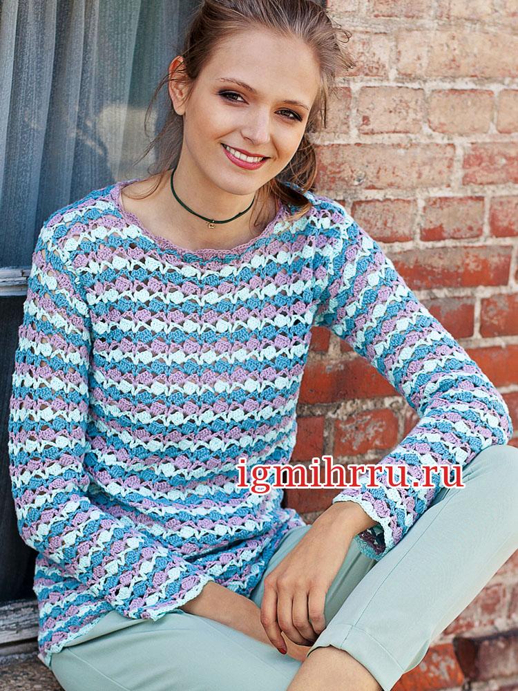 Трехцветный пуловер с ажурным узором. Вязание крючком