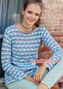 Трехцветный пуловер с ажурным узором. Крючок