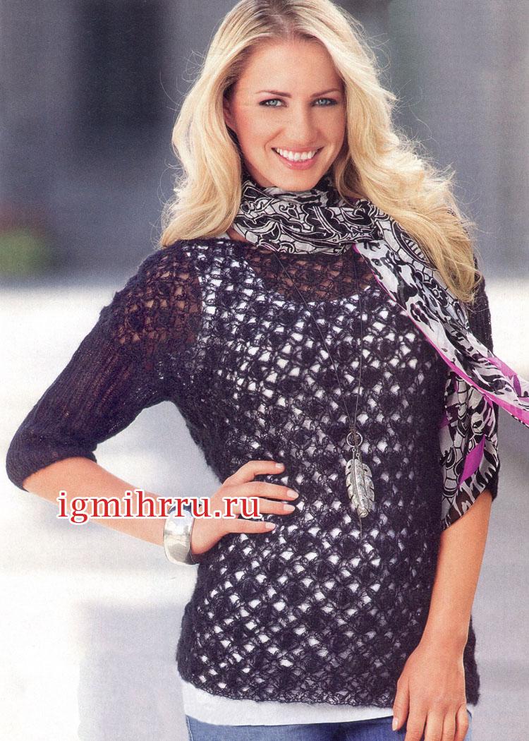 Черный мохеровый пуловер с ажурным узором. Вязание крючком