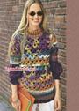 Меланжевый шерстяной пуловер с ажурным узором. Крючок