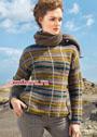 Шерстяной пуловер в горизонтальную и вертикальную полоску. Крючок