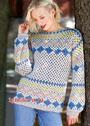 Теплый пуловер с жаккардовыми узорами в норвежском стиле. Крючок