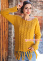 Желтый пуловер с косами и бахромой. Крючок