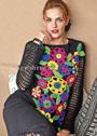 Черный пуловер с разноцветными вязаными цветами. Крючок