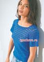 Синий летний пуловер с узором из треугольников. Крючок