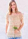 Женственный бежевый пуловер с миксом узоров. Крючок