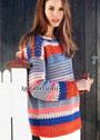 Полосатый хлопковый пуловер с ажурными узорами. Крючок