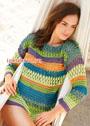 Разноцветный летний пуловер с ажурными узорами. Крючок