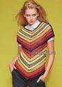 Эффектный пуловер с полосами, соединяющимися углом. Крючок