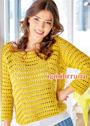 Горчично-желтый пуловер с дырчатым узором. Крючок