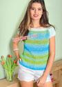 Бирюзово-зеленый летний пуловер. Крючок и спицы