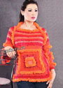 Красно-оранжевый джемпер с квадратом и рюшами. Крючок