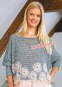 Сетчатый пуловер, украшенный ажурными цветами. Крючок