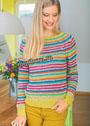 Для любителей нукинга: пуловер с разноцветными полосками. Крючок