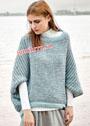 Свободный шерстяной пуловер-пончо. Крючок