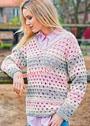 Серо-розовый пуловер с дырчатым узором. Крючок