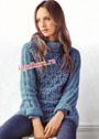 Темно-голубой пуловер с ажурным узором. Крючок и спицы