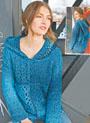 Сине-бирюзовый ажурный пуловер с капюшоном. Крючок
